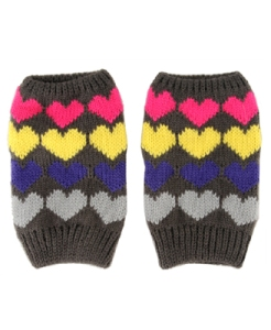 Heart Pattern Fingerless Gloves $6