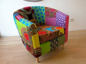 """Technicolor Tub Chair"" $894 Ray Clarke Upholstery"