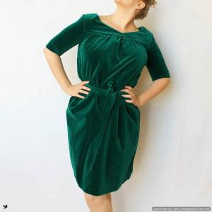 plus-size-green-velvet-skirt