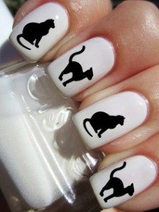 black cat halloween nail decals by pinegalaxy. halloween nails for girls-t04635