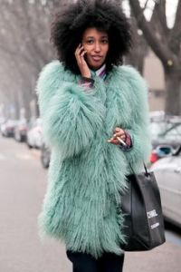 Julia Sarr Jamois in faux fur