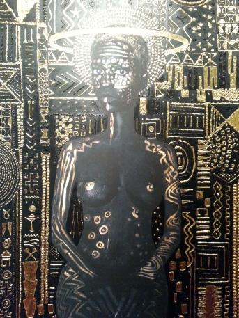 Constellations, pure 24 karat gold, acrylic, gouache, print on matte canvas - Lina Iris Viktor