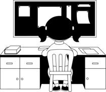 Black White Girl Sitting On Chair Doing Study Work Clipart